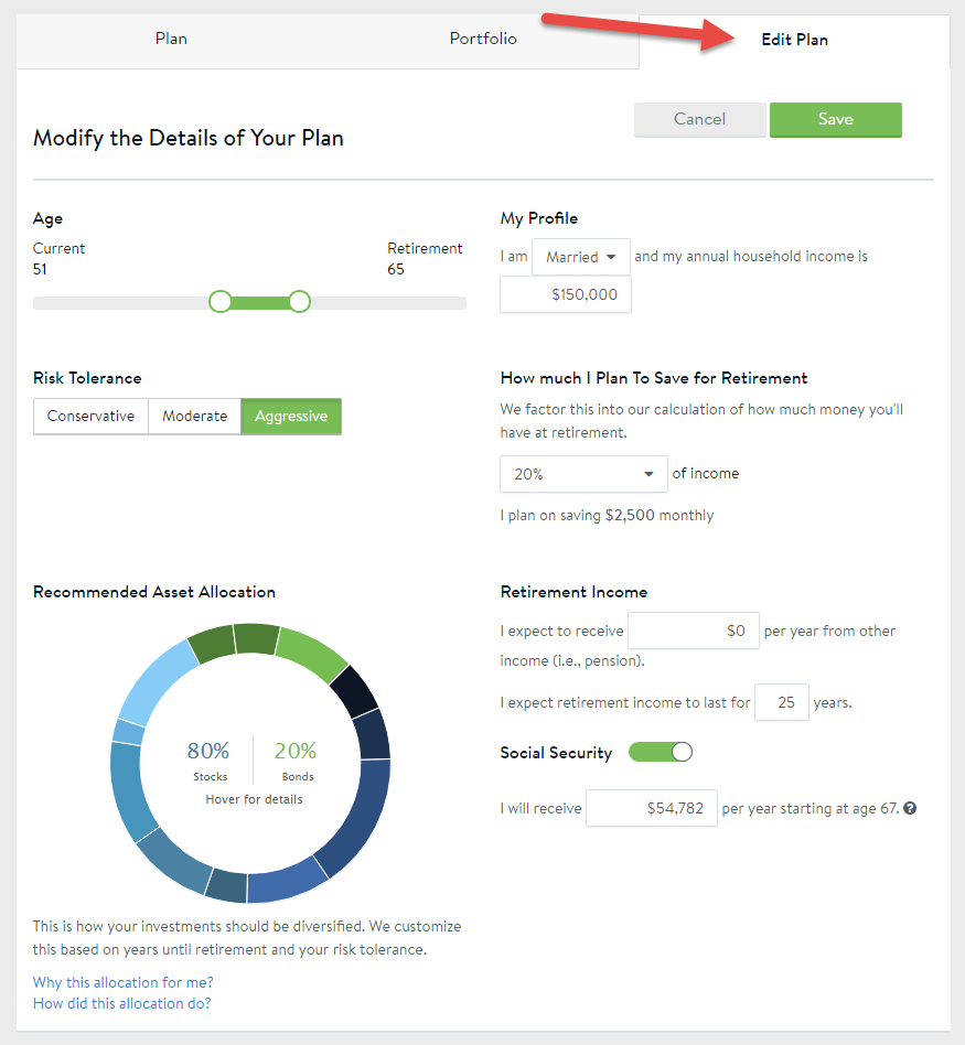 if you would like to adjust your retirement age or risk tolerance settings please go to your edit plan tab and make any necessary adjustments